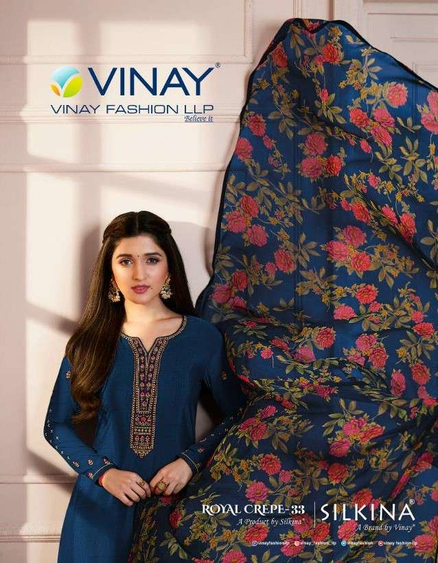 Vinay Fashion Silkina Royal Crepe Vol 33 Fancy Crepe ladies Suit Collection