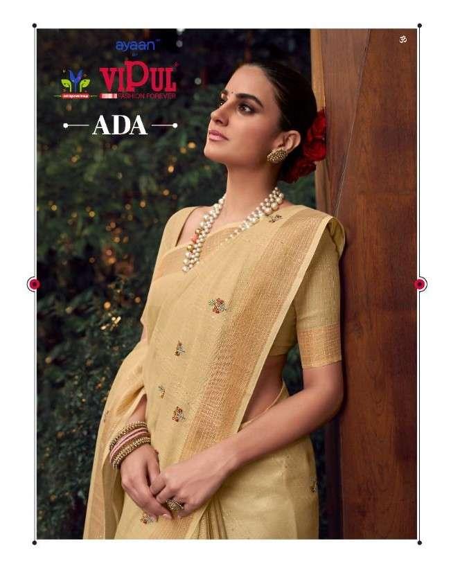 Vipul Fashion Ada Exclusive Linen Cotton Saree Catalog Wholesale Dealer
