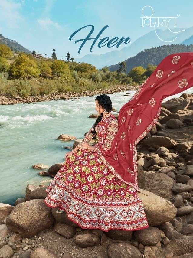 Virasat Heer designer Patla Silk Designer Anarkali Readymade Dress Collection
