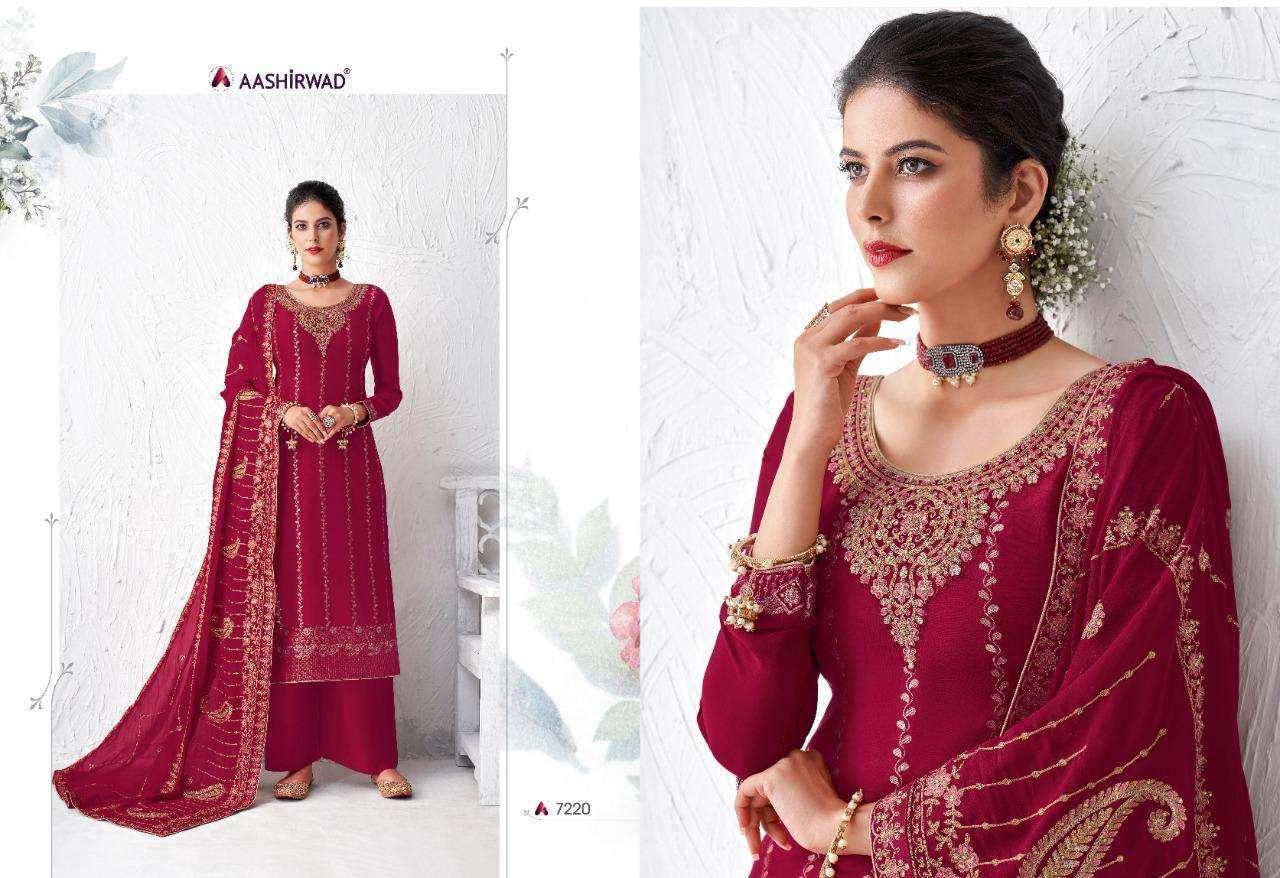 Ashirwad Gulabo Pure Dola Silk Salwar Suits For Ladies