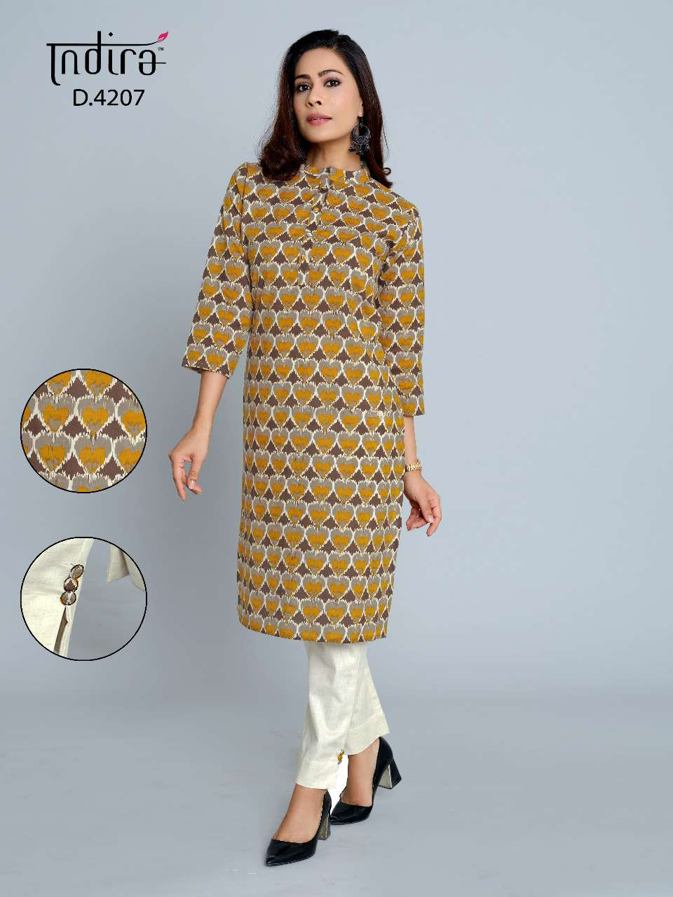 Indira Apparel Pink City Vol 2 Cambric Cotton Kurti With Pants