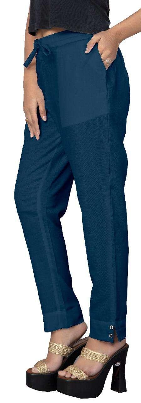 Poorvi Pencil Pants Cotton Slub Bottom Wear For Ladies