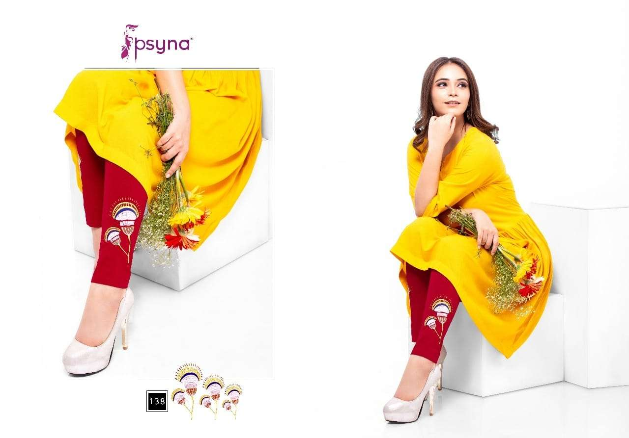 Psyna embroidered leggings vol 7 Cotton Lycra Embroidered leggings catalogue wholesaler