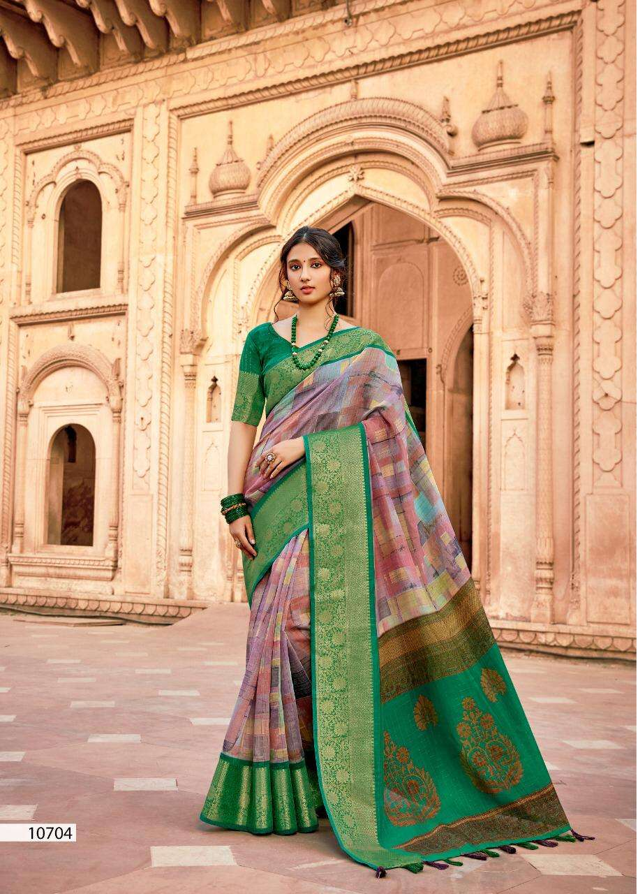 Triveni Premratan Linen Weaving Saree Catalog Supplier