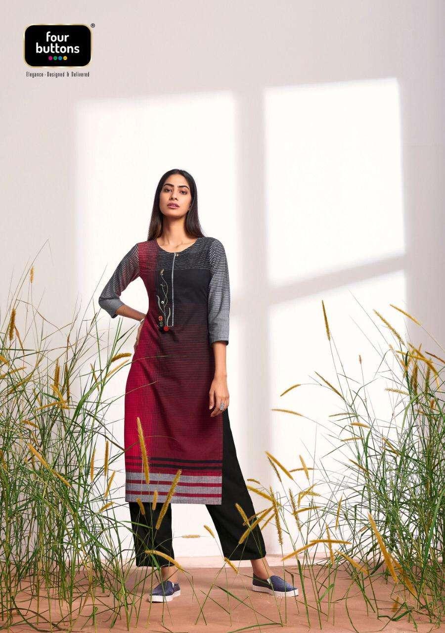 Four Buttons Big Checks Fancy Designer Cotton Kurti Catalog Wholesaler