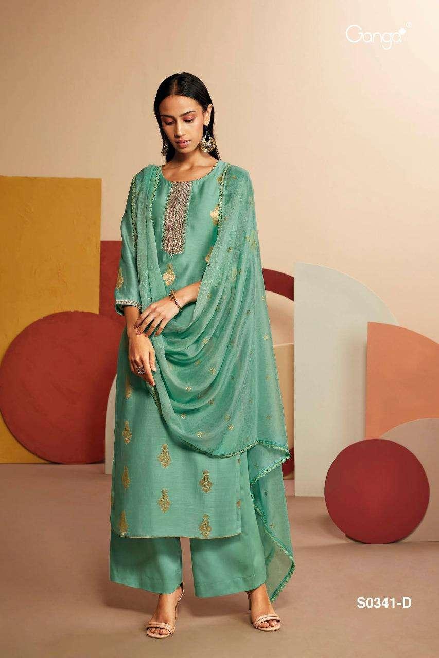 Ganga Lyla 341 Pure Silk Jacquard Designer Suits Suppiler
