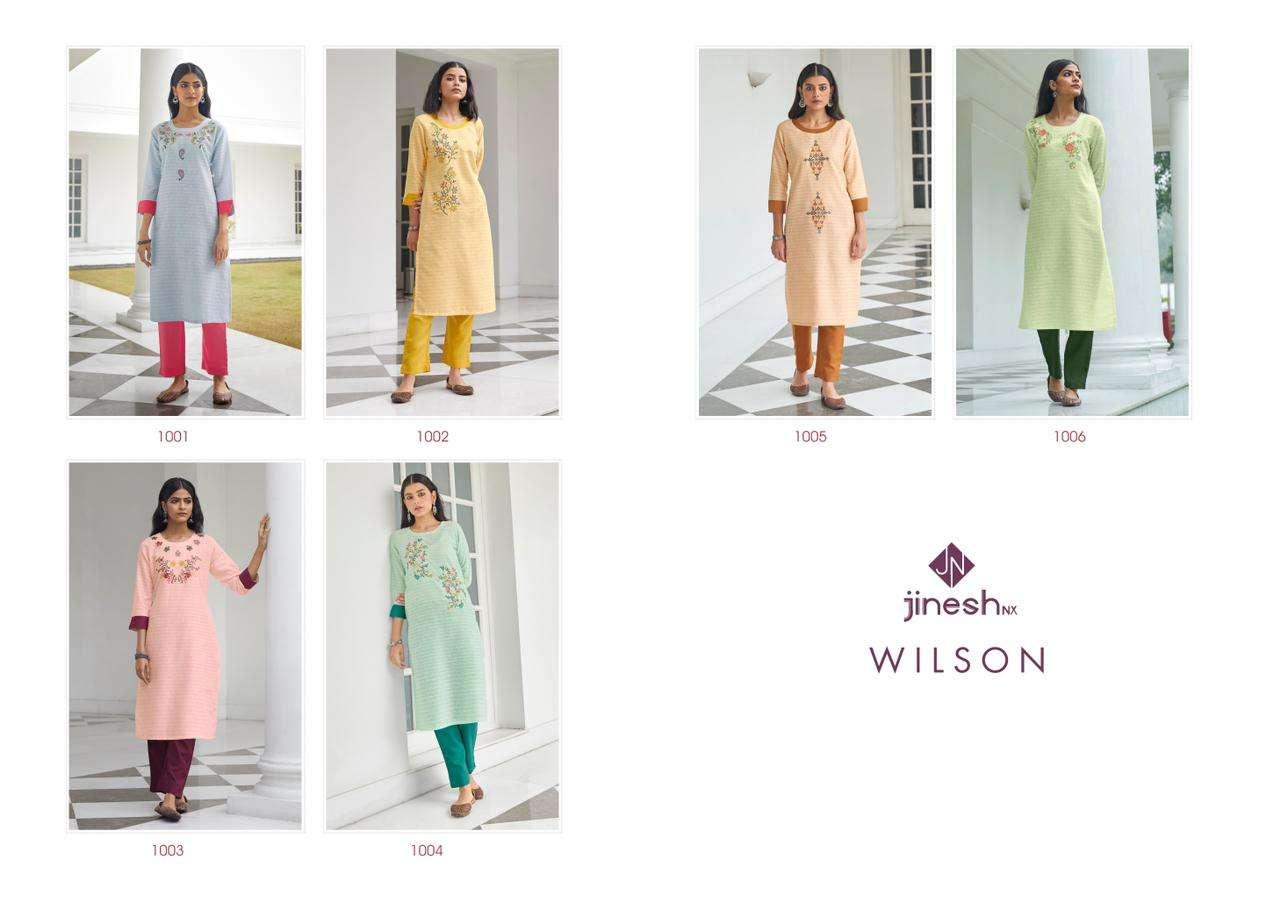 Jinesh NX Wilson Cotton Strip Handwork Kurti Pent Sets Catalog Supplier