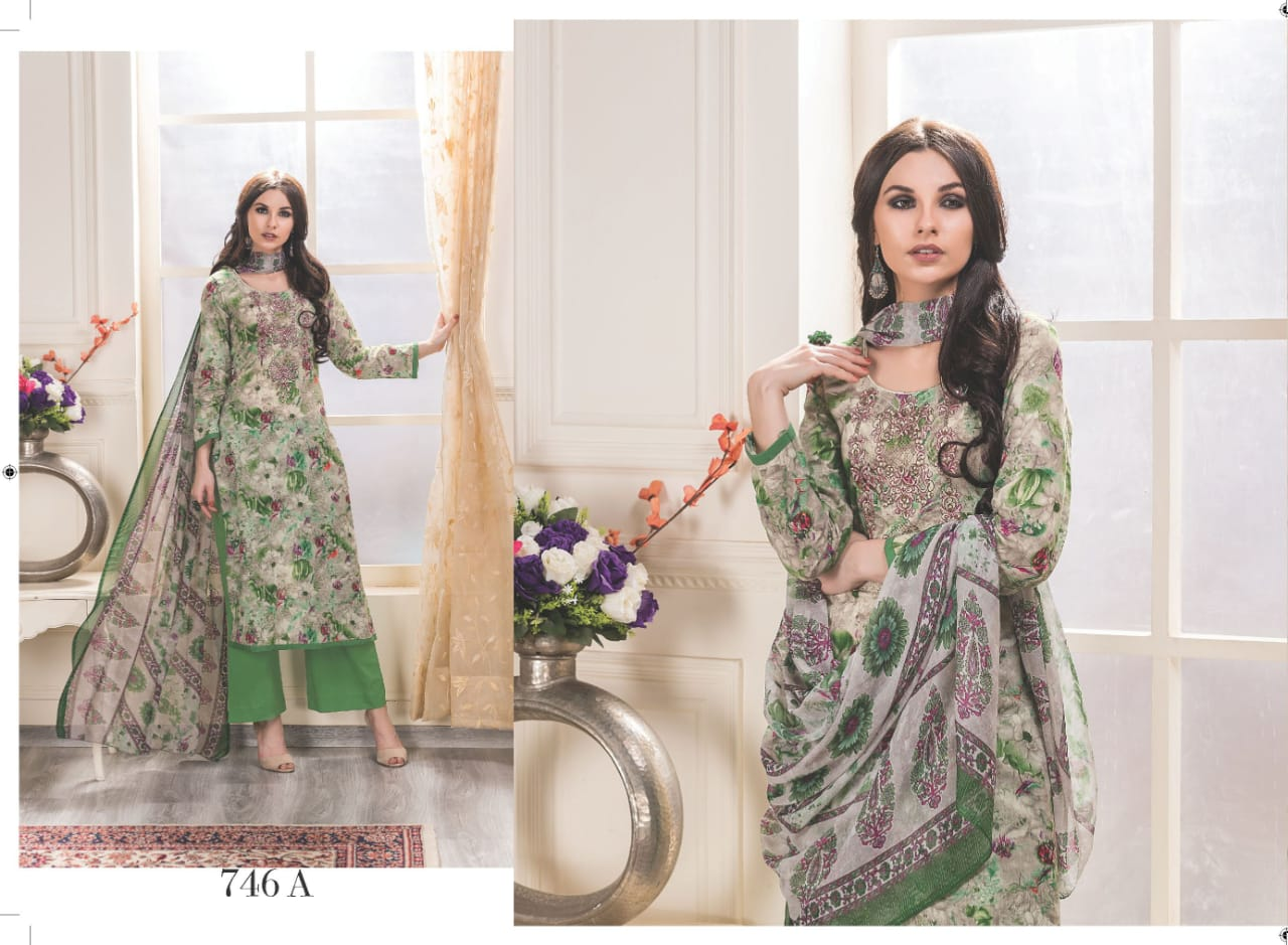 Rivaa exports gunjan Cotton printed embroidered salwar suit catalog in wholesale