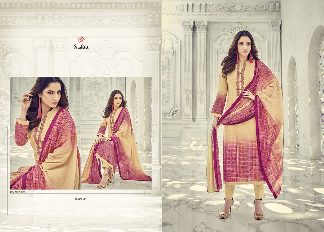 Sudriti glance cambrics cotton printed fancy dress material collection catalog supplier