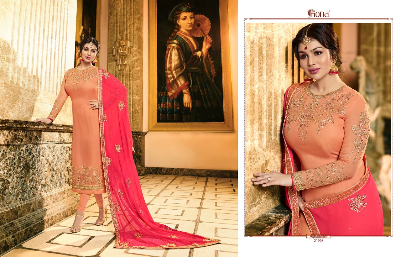 Fiona ayesha heavy dupatta party wear straight Embroidered salwar Suit Catalog in wholesale