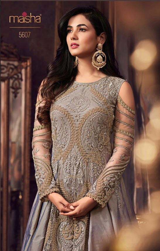 Maisha maskeen shyra eid collection for party wear designer gown wholesale dealer