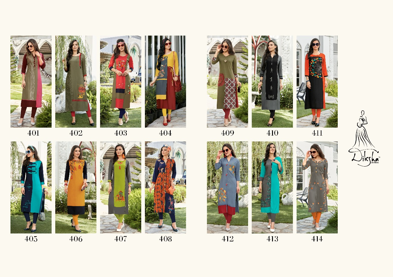 Diksha fashion siya vol 4 fancy designer rayon kurtis catalog wholesale Price