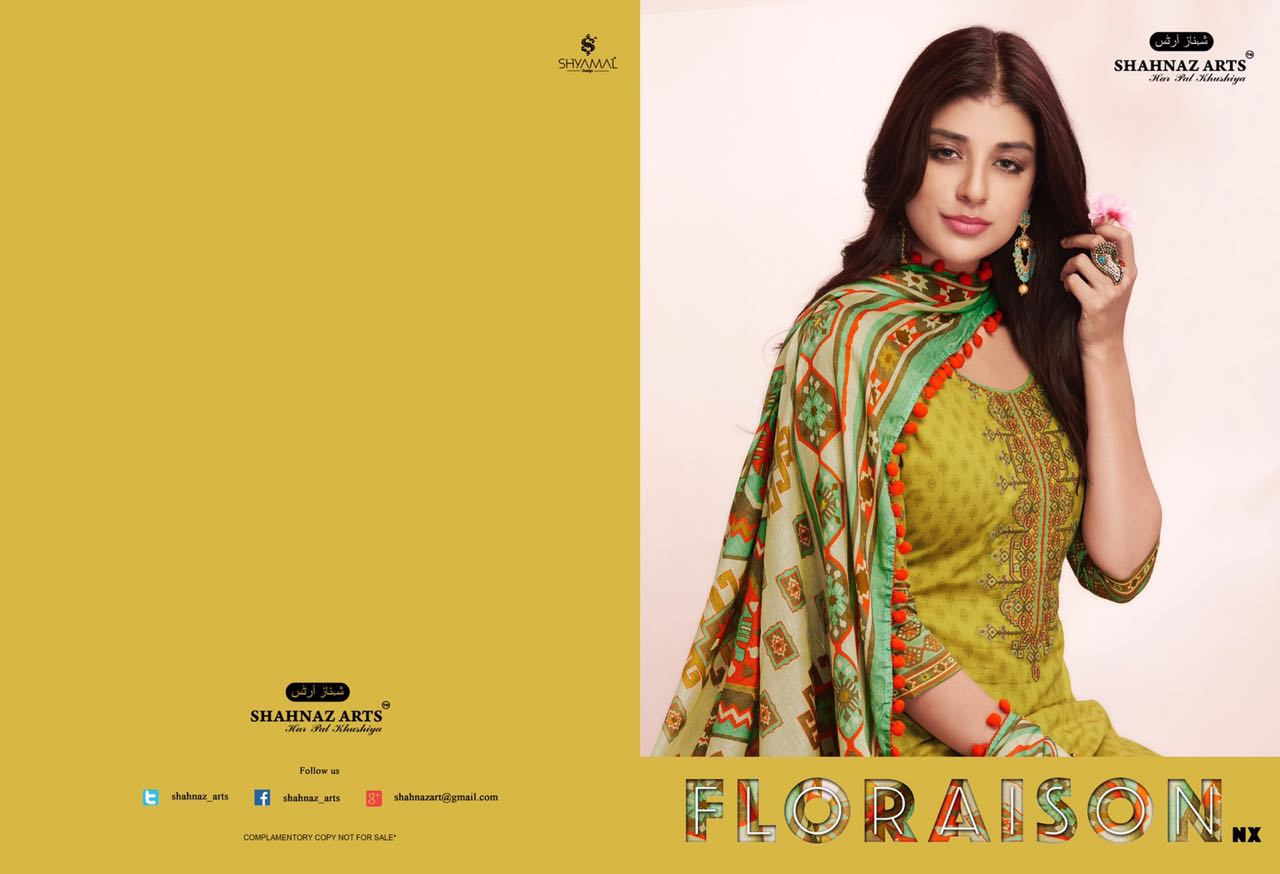 Shahnaz Arts Floraison NX Straight cotton dupatta Salwar Suit Catalog wholesale price