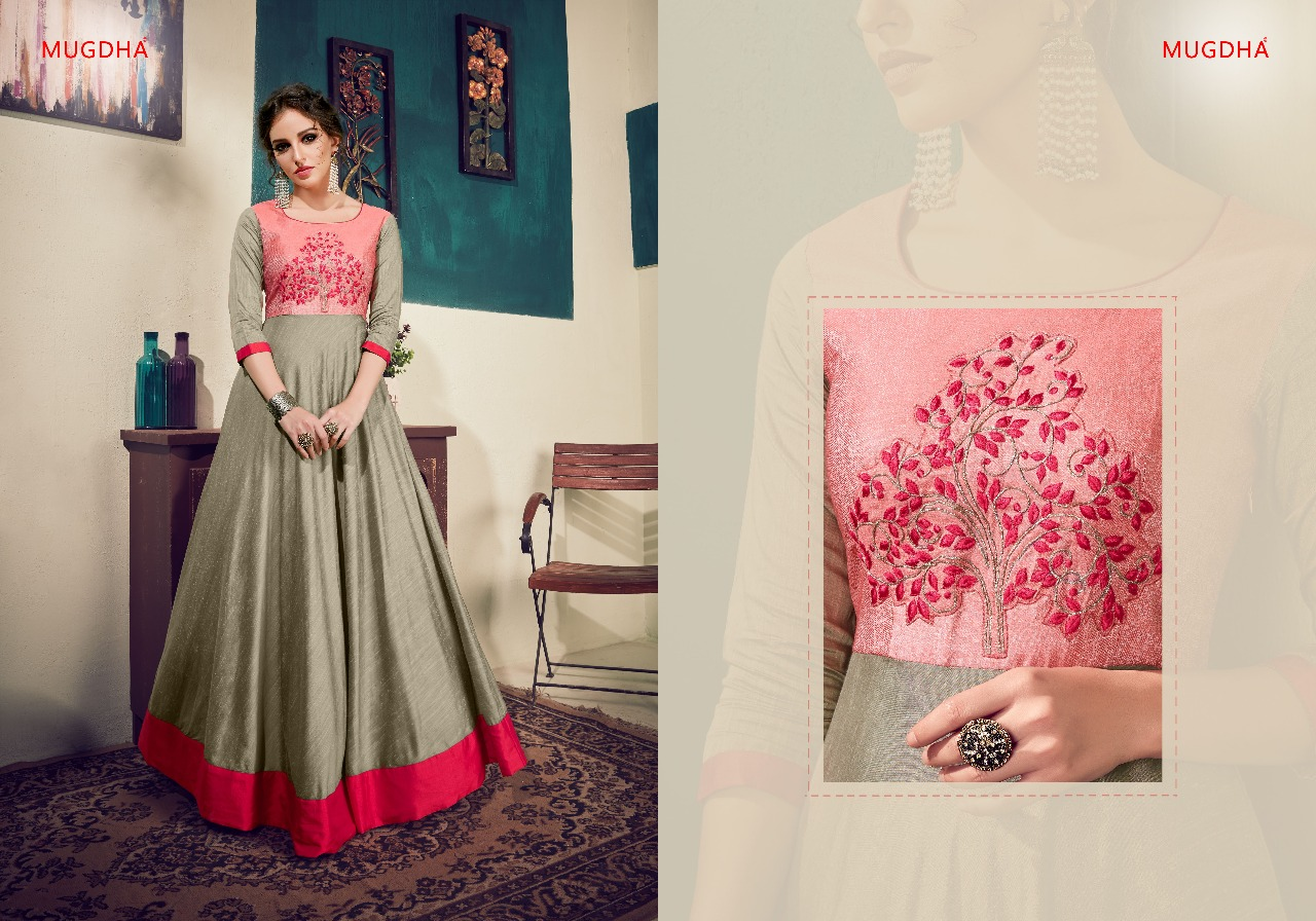 Mugdha fusion designer gown style party wear readymade gown Catalog wholesale supplier surat