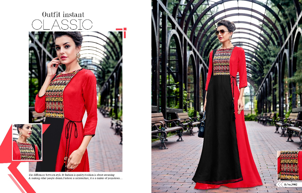 Tanishk fashion Spydar Designer gown style readymade georgette kurtis catalogue wholesaler