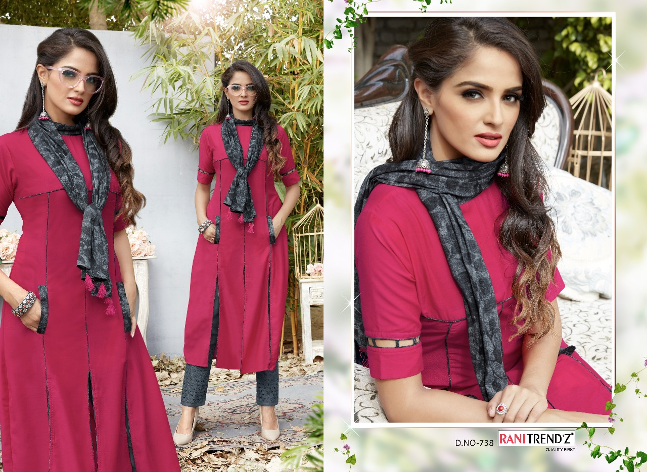 Rani trends lime lite vol 2 Kurti with scarf and bottom Catalogue from  surat