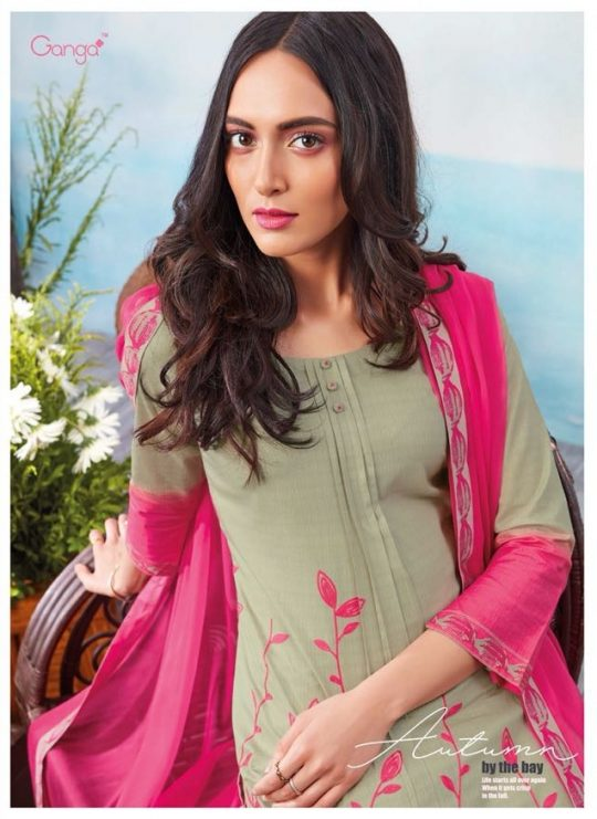 ed6120f6fe Ganga latest catalogue Autumn by the bay embroidered cotton salwaar suit  catalogue from surat wholesaler