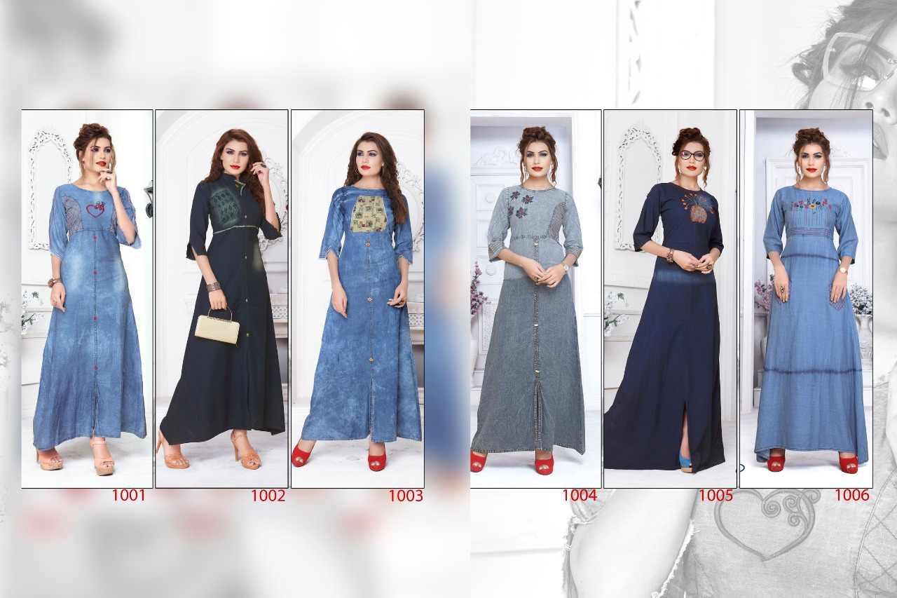 SLC denim beauty gown style kurti catalogue from surat wholesaler