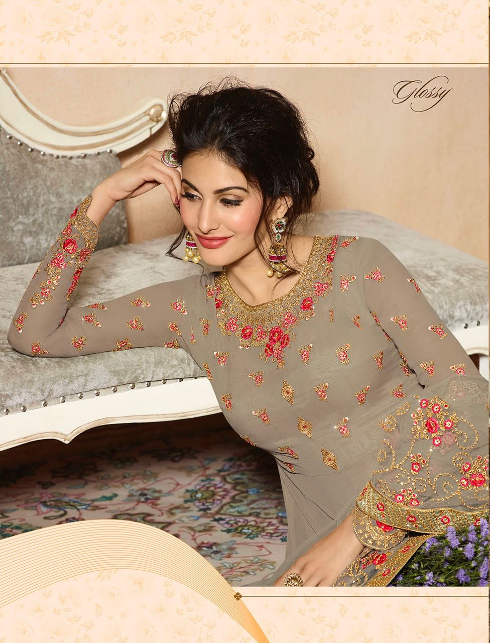Glossy simar amyra gown party wear dress catalogue from surat wholesaler