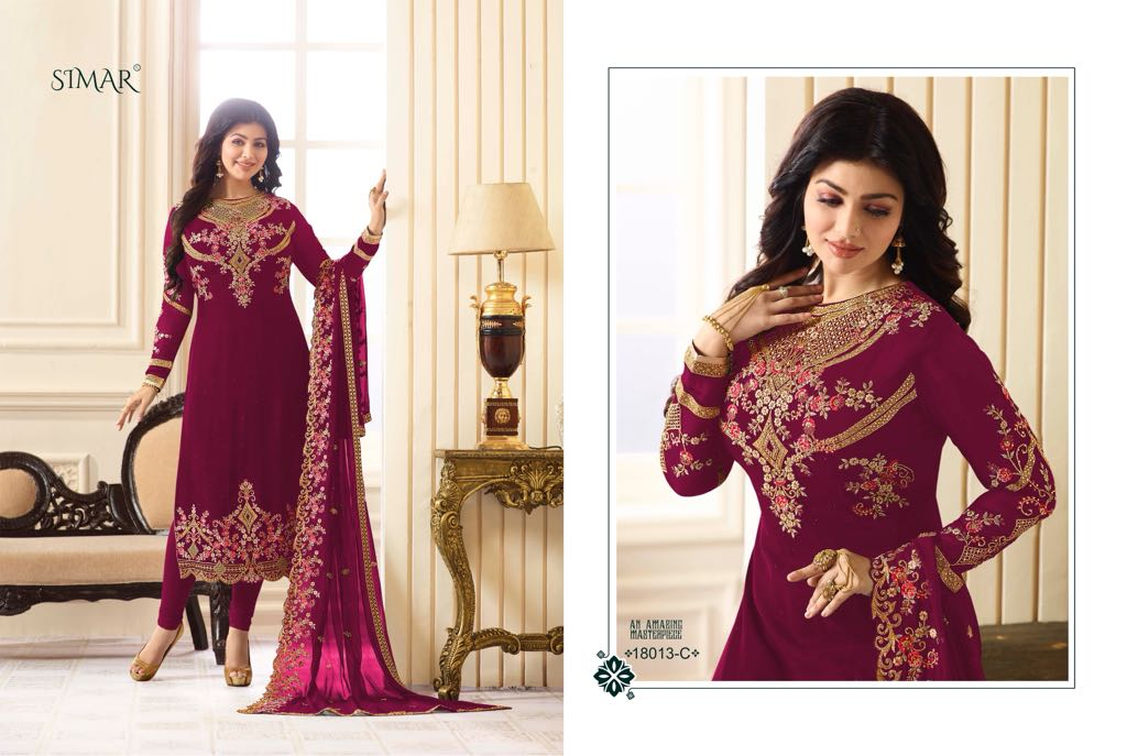 Glossy 18013 Colors party wear embroidered salwar suit catalogue wholesale price