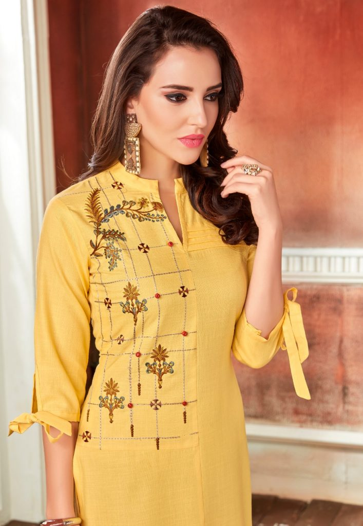 - IMG 20190220 WA0055 1 707x1024 - Rio By Vink Fancy Embroidery Linen Cotton Kurti Catalogue Dealer Best Price Surat