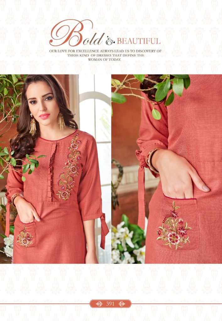 - IMG 20190220 WA0058 1 707x1024 - Rio By Vink Fancy Embroidery Linen Cotton Kurti Catalogue Dealer Best Price Surat
