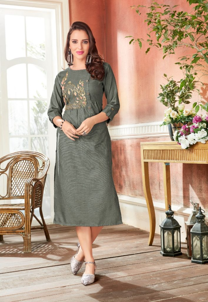 - IMG 20190220 WA0069 3 707x1024 - Rio By Vink Fancy Embroidery Linen Cotton Kurti Catalogue Dealer Best Price Surat