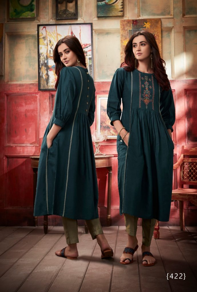 - IMG 20190402 WA0314 690x1024 - Vink by vista lifestyle pheonix gown style long kurti catalogue wholesaler surat