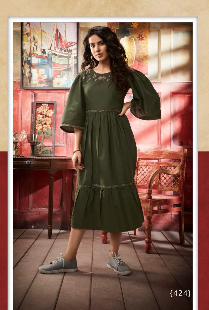 - IMG 20190402 WA0322 690x1024 - Vink by vista lifestyle pheonix gown style long kurti catalogue wholesaler surat
