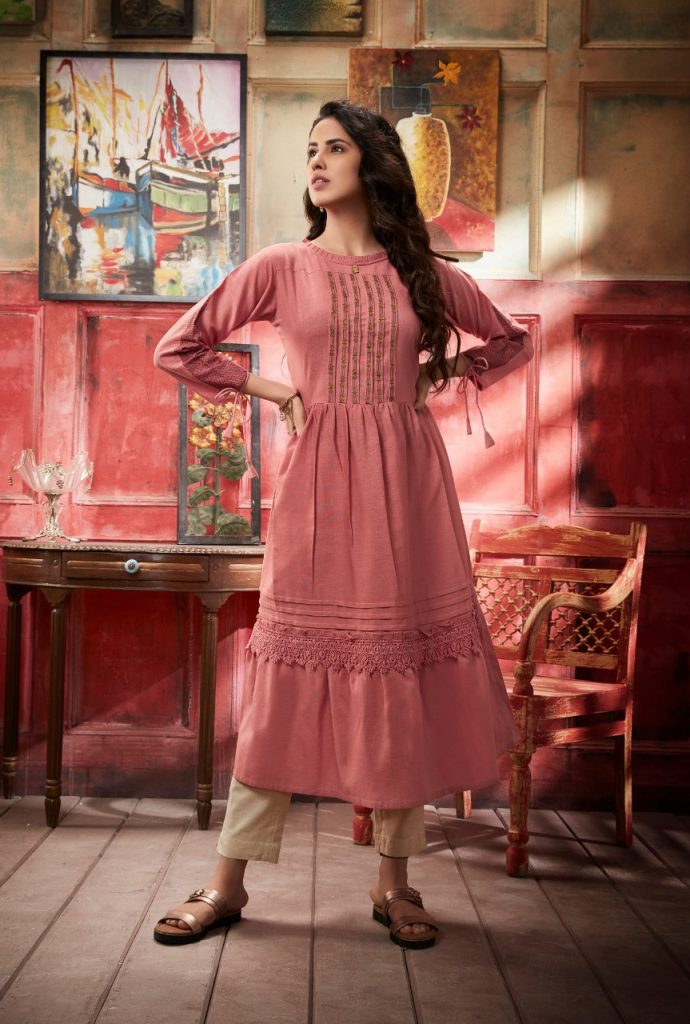 - IMG 20190402 WA0323 690x1024 - Vink by vista lifestyle pheonix gown style long kurti catalogue wholesaler surat