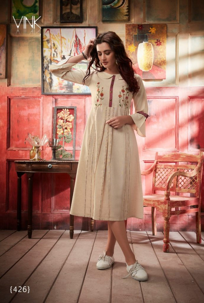 - IMG 20190402 WA0325 690x1024 - Vink by vista lifestyle pheonix gown style long kurti catalogue wholesaler surat