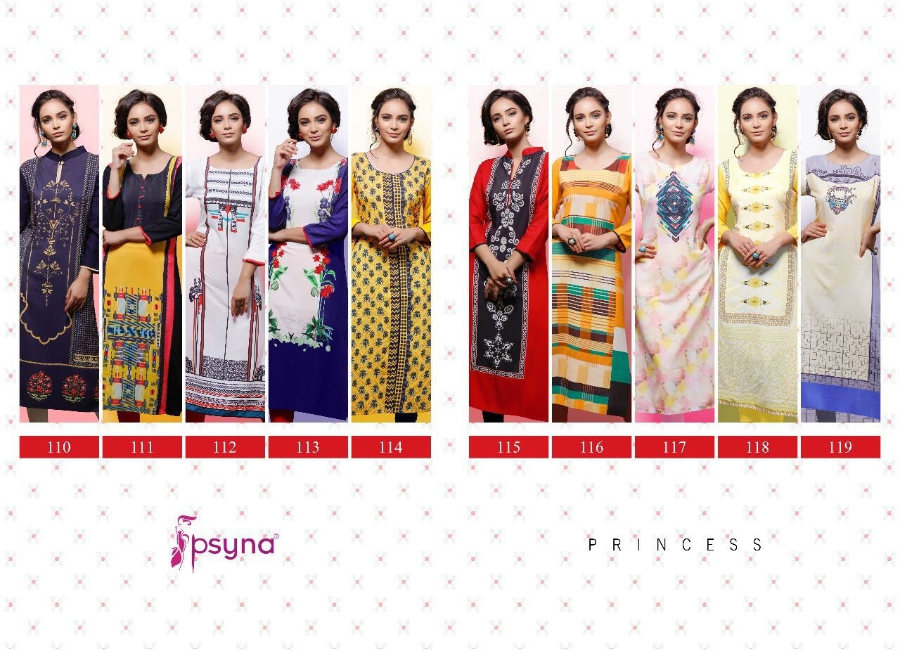 Psyna princess vol 11 Digital printed rayon kurtis supplier