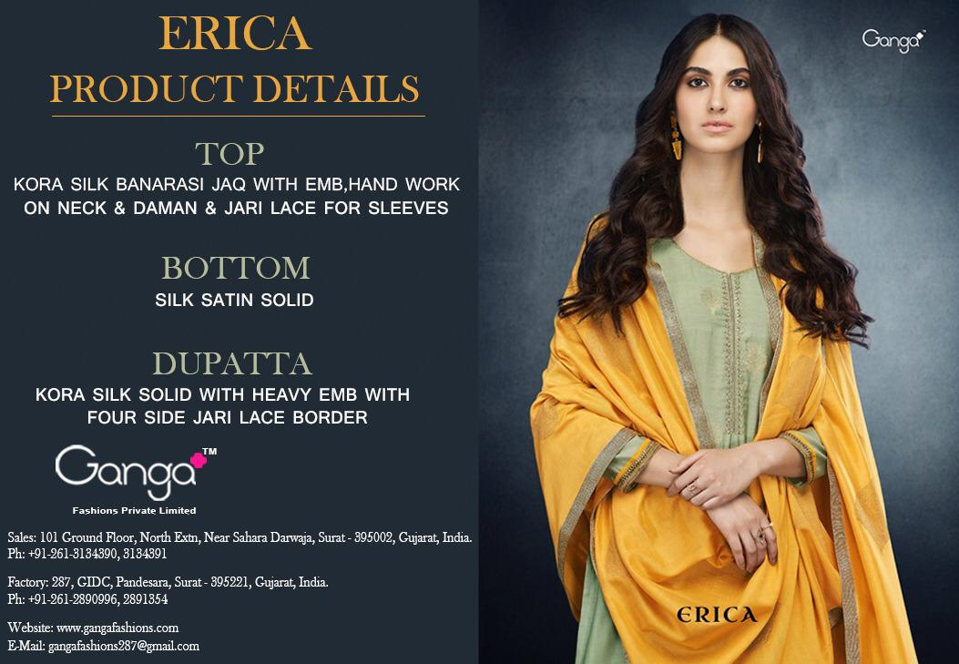 Ganga Fashion Erica kora silk designer salwar suit authorized dealers surat
